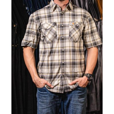 Rugged Flex Men's Relaxed-Fit Lightweight SS Button-Front Plaid Shirt (Olive)