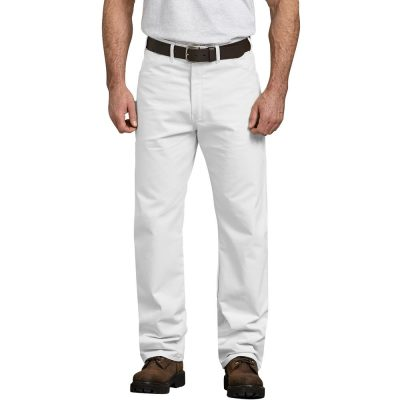 Relaxed Fit Straight Leg Cotton Painters Pant (White)