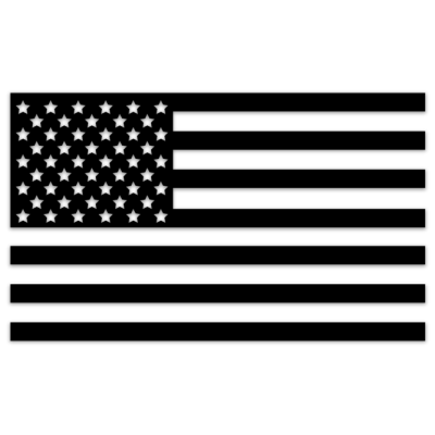 TRUCK DECAL – USA FLAG BLACK (6″ WIDE)